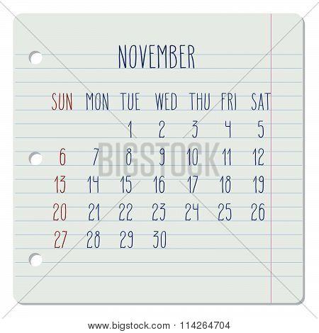 November 2016 Monthly Calendar