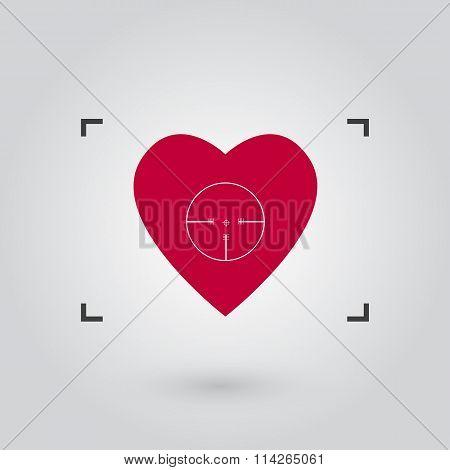 Vector red heart under aim illustration.