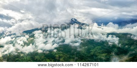 Clouds on mountain