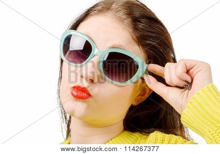 Young Woman Send Kiss, With Red Lips And Sun glasses