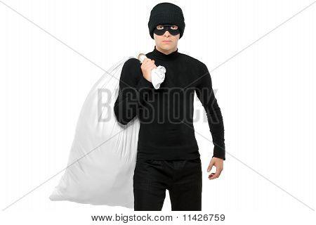 Portrait Of A Thief Holding A Bag