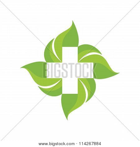 Medical cross and green leafs - vector logo concept illustration. Medicine logo. Health logo.