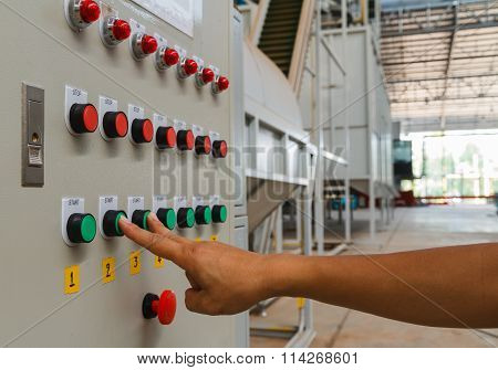 Forefinger And Middle Finger Touch On Green Start Button