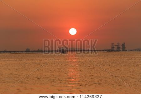 Twilight Of Sea Sunset In Thailand.