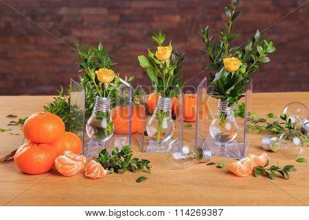 Ripe, juicy tangerines in a beautiful table.