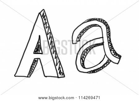 New Drawing Character A Of Alphabet.