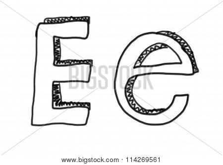 New Drawing Character E Of Alphabet.