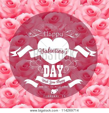 Valentine pink roses background with a close up view with transparent a round label decorated
