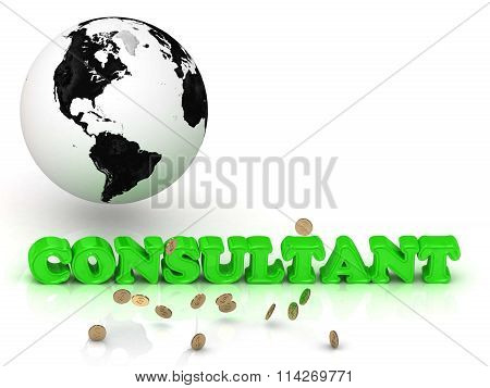 Consultant- Bright Color Letters, Black And White Earth