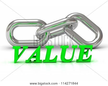 Value- Inscription Of Color Letters And Silver Chain