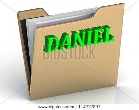 Daniel- Bright Green Letters On Gold Paperwork Folder