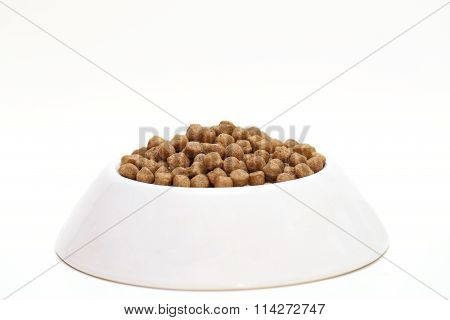 Isolated A White Bowl Of Dog Food