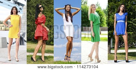 Collage of five beautiful models in colored summer dresses, outdoors street fashion