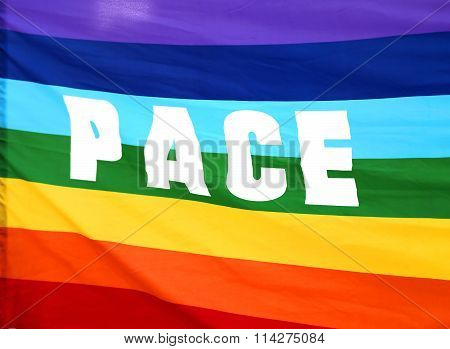 Rainbow Peace Flag With Written Pace In Italy