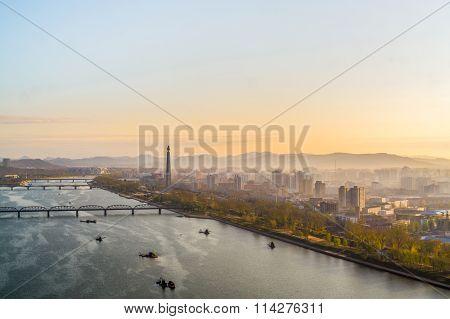 Morning view of Pyongyang city and Tucheto River
