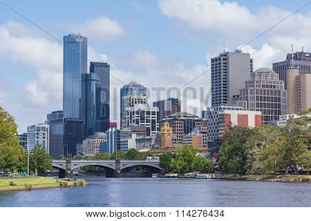 Office buildings and Yarra River in Mebourne CBD