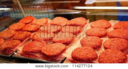 Red Beef Burger For Sale By The Butcher