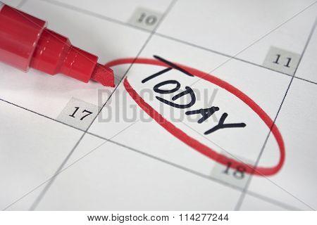 red circle on calendar