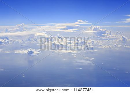 Beautiful cumulus clouds over Indian Ocean.