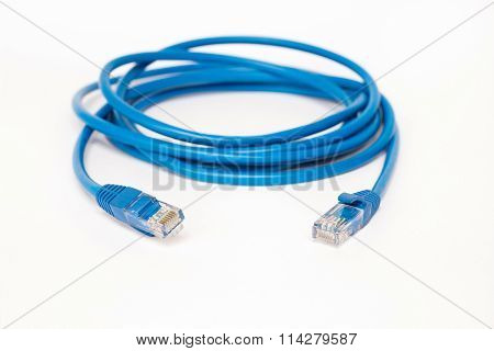 Blue patchcord with RJ45 plug lan network
