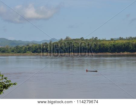 fishery row boat on Mekong river in Thailand