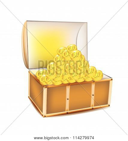 Pirate A Treasure Chest Of Gold Coins On A White Background Vector