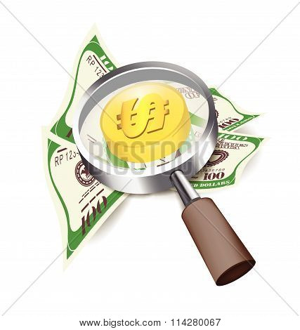 Search Money Of Magnifier Vector Design Business Concept