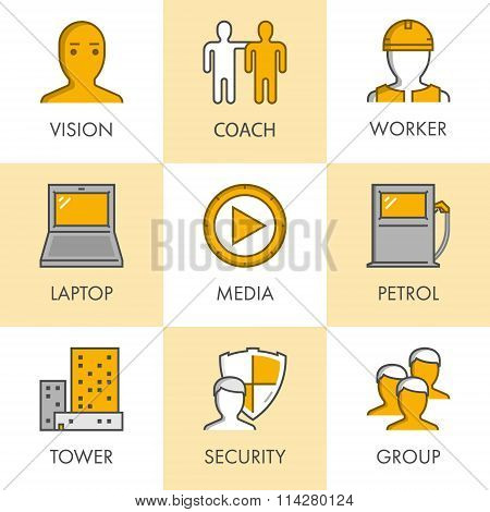 Vector Line And Flat Business Icon Set For Web. Black And Yellow