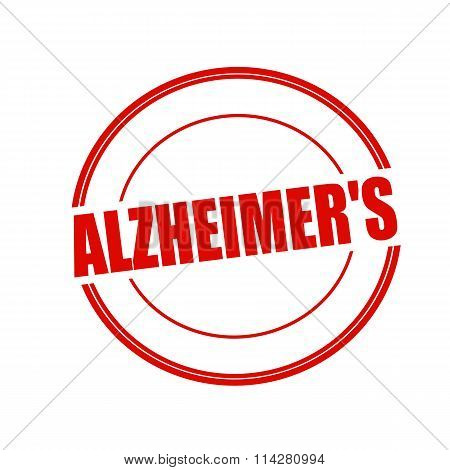 Alzheimer's Red Stamp Text On Circle On White Background