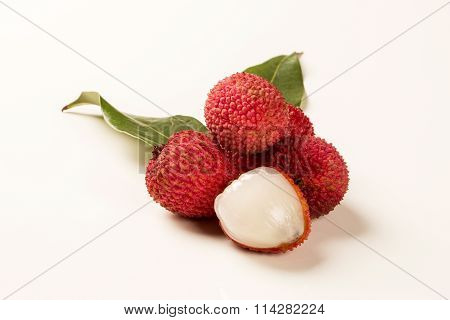 Fresh Lychees On White Background.