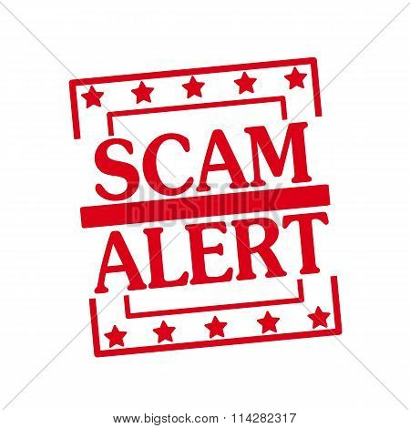 Scam Alert Red Stamp Text On Squares On White Background