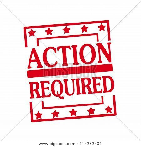 Action Required Red Stamp Text On Squares On White Background