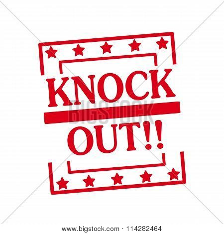 Knock Out Red Stamp Text On Squares On White Background
