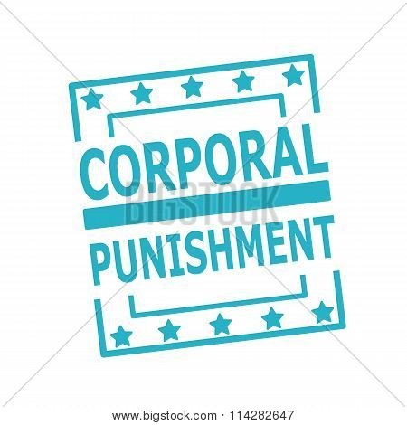 Corporal Punishment Blue Stamp Text On Squares On White Background
