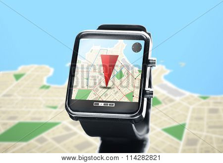 close up of smartwatch with navigator map