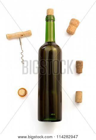 corkscrew and wine bottle isolated on white background