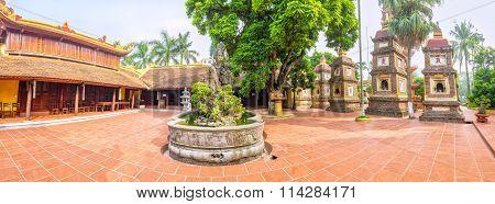 Panorama architectural Tran Quoc Pagoda, Hanoi, Vietnam
