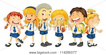Boys and girls in school uniform illustration