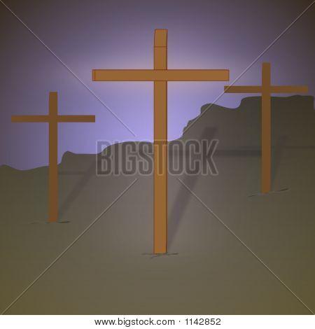 Three Crosses With Halo
