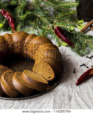 Christmas cake from rye flour with honey and spices