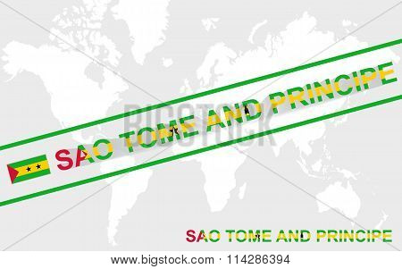 Sao Tome And Principe Map Flag And Text Illustration