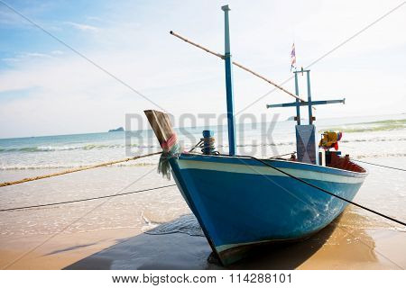 Tied Up Boat On Beach