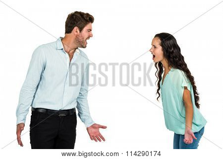 screaming couple having argument on white background