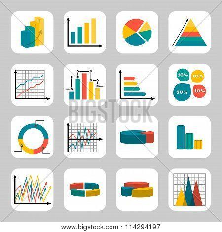 Diagrams Icon Set. Vector Symbols. Business Icon