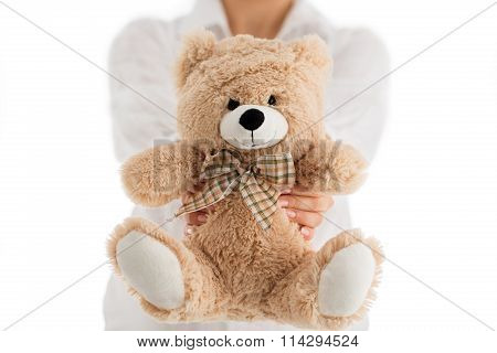 Woman Holding Cute And Fluffy Teddy Bear Isolated