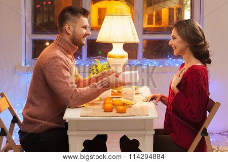 Portrait of romantic couple at Valentine's Day dinner