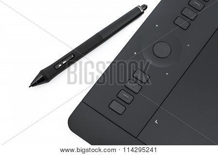 Varna, Bulgaria - January 10, 2016 Wacom Intuos Pro Graphic Tablet With Pen, Studio Isolated