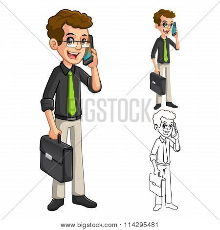 Businessman Geek With Glasses Holding Smart Phone And Briefcase Cartoon Character
