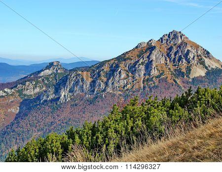 two rocky mountains, Rozsutec,  Mala Fatra national park, Slovakia