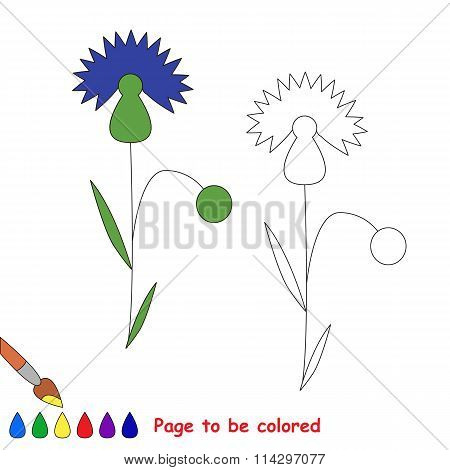 Cornflower In Vector Cartoon To Be Colored.